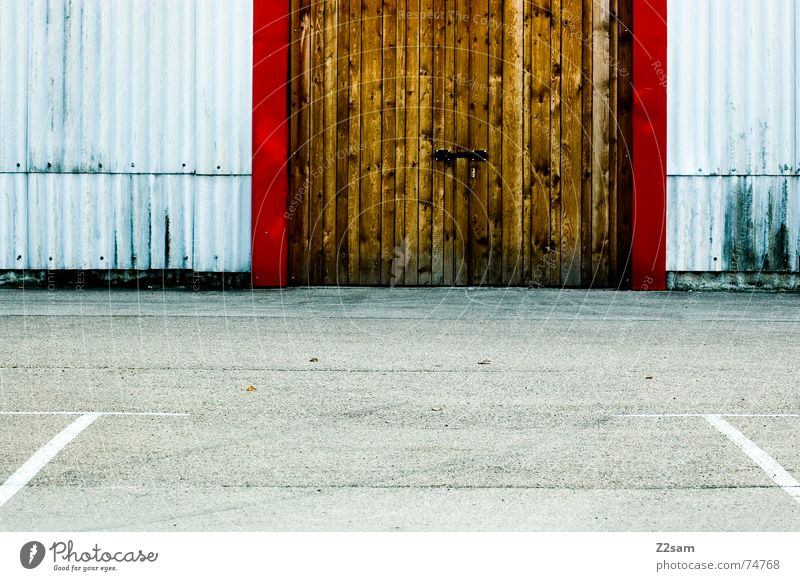 Red Yellow Wood Line Door Industrial Photography Factory Gate Parking lot Garage Disk Corrugated sheet iron