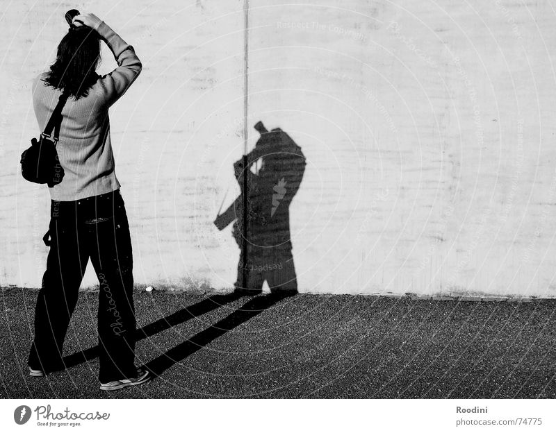 Photoistic Photographer Wall (barrier) Photography Bag Tourist Take a photo Japanese Posture Stand Looking Autumn Shadow Contrast Sun Silhouette galle77