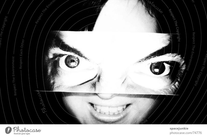 Woman Human being White Black Eyes Dark Laughter Fear Crazy Grinning Freak Black & white photo Alarming