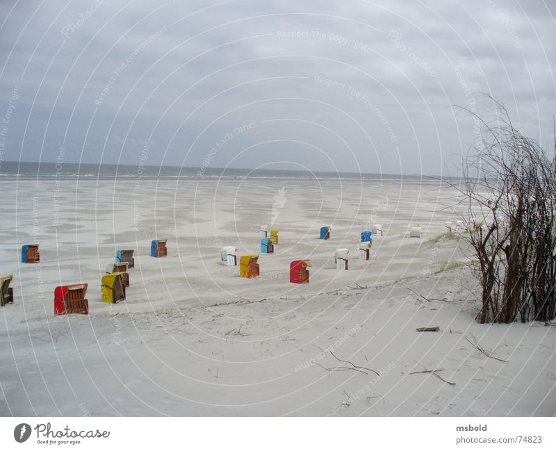 Beach on Juist Juist island Beach chair Vantage point Horizon Bird's-eye view beach holiday Beach dune Far-off places Sand in proportion accent Beach vacation