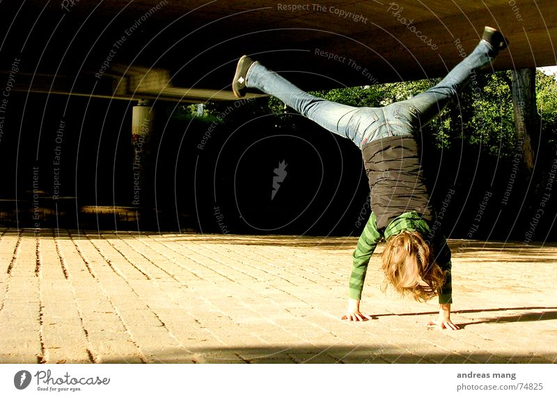 Enjoying life Girl Handstand Joy fun woman hands Action Hair and hairstyles Legs leg Freedom