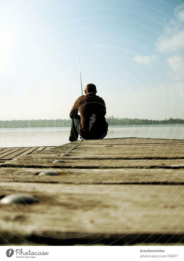 Man Water Calm Loneliness Relaxation Autumn Wood Lake Leisure and hobbies Footbridge Fishing (Angle) Fisherman Angler