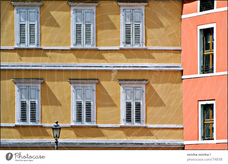 house angle Lantern Facade Window House (Residential Structure) Shutter Italy Lake Garda Yellow Red Vacation & Travel South Shadow Arco Line Mediterranean