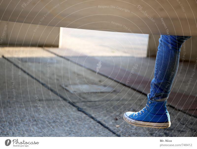 Human being Blue Girl Feminine Legs Feet Fashion Lifestyle Footwear Individual Clothing Retro Break Manmade structures Jeans Hip & trendy