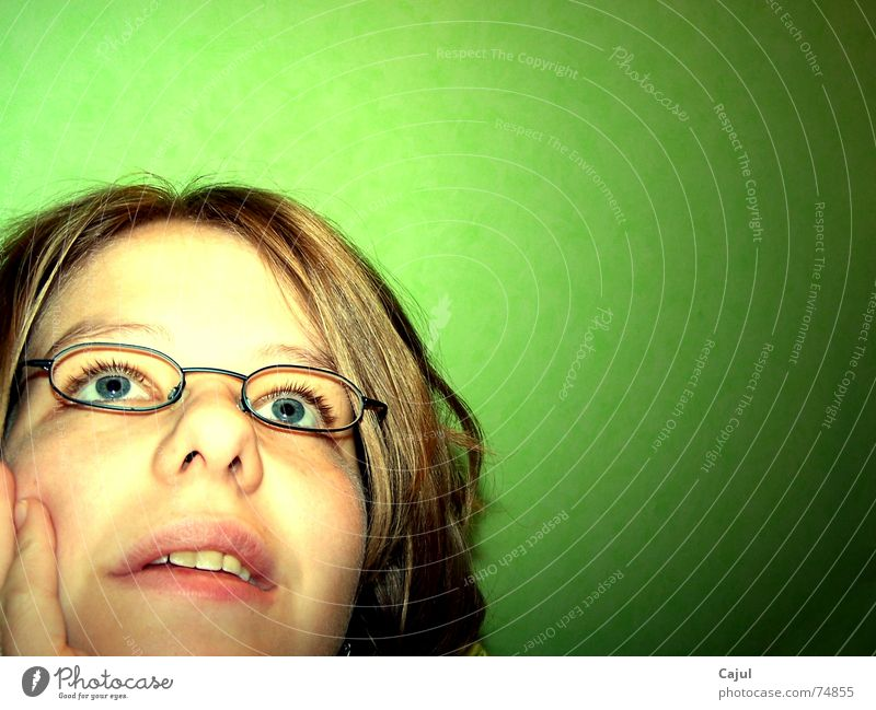 Woman Blue Hand Green Face Eyes Feminine Wall (building) Hair and hairstyles Think Dream Mouth Nose Fingers Eyeglasses Desire