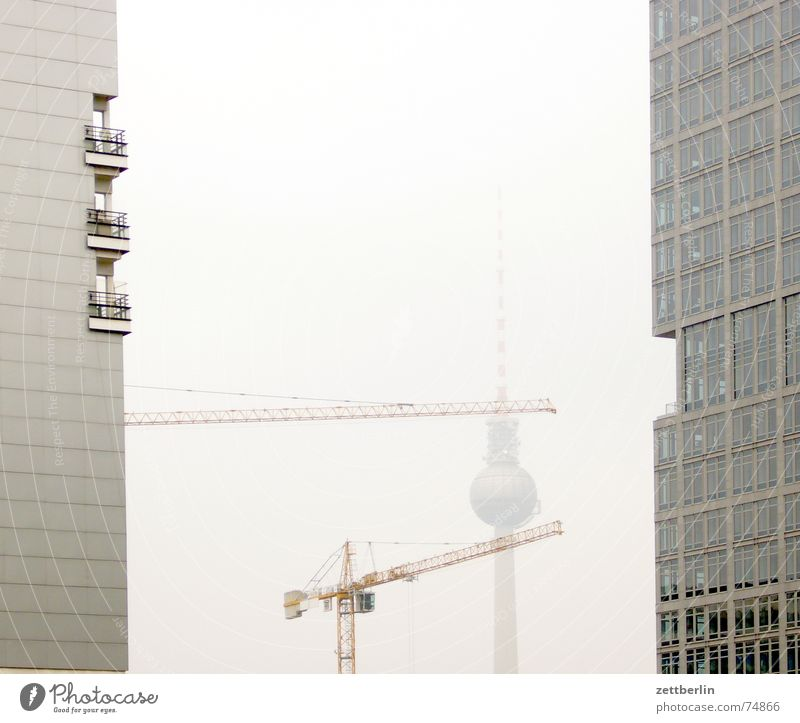 television tower Crane High-rise Facade Construction site Autumn Fog Berlin TV Tower telespargel alex Middle text module