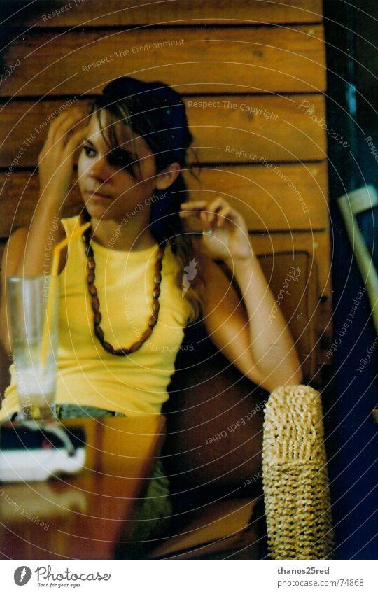 yellow style Style Yellow woman sit sitting toupee sence hair