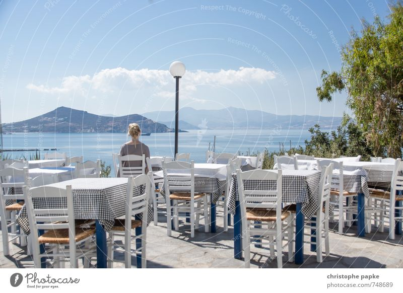 ataraxia Contentment Relaxation Calm Vacation & Travel Tourism Far-off places Summer Summer vacation Table Restaurant Eating Feminine Young woman