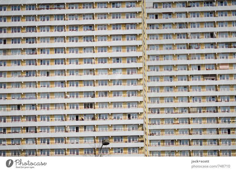 horizontally Living or residing Architecture Marzahn Prefab construction Town house (City: Block of flats) Facade Balcony Street lighting Concrete Stripe GDR