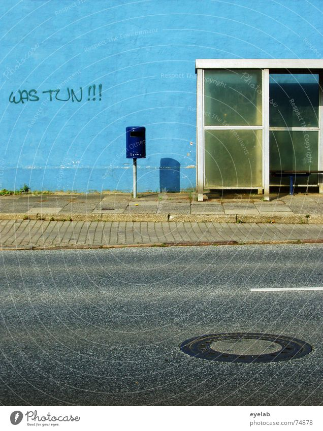 What to do!!! Wall (building) White Trash Grunge Station Gully Sidewalk Gray Town Stripe Blue Trashy Bus glass Street Bench grey Old Wall (barrier)