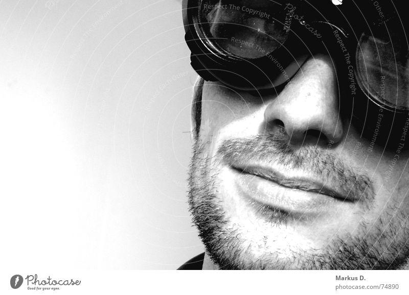 sky captain Black White Eyeglasses Welding goggles Man Style Portrait photograph Overexposure Serene Impish Interior shot Facial hair Designer stubble Unshaven