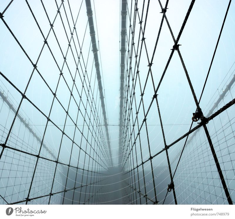 The Brooklyn Bridge and the Nebula III Environment Nature Climate change Weather Bad weather Storm Fog Downtown Outskirts Skyline Overpopulated