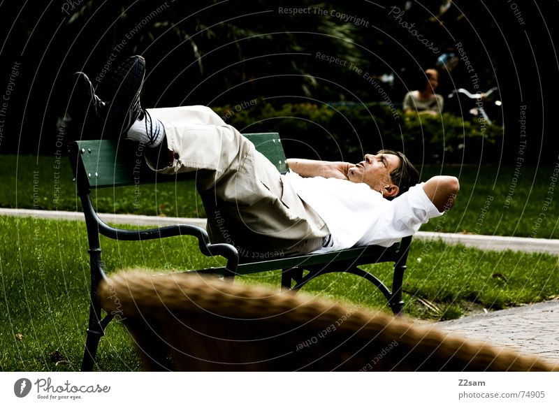 italian relax Italy Man Park Summer Relaxation Break To enjoy Lake Garda Italian Lie Bench Telephone Cross To call someone (telephone)