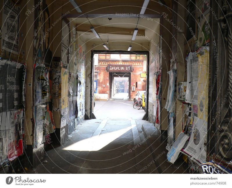 Passage to the dance studio Dock 11 Hallway Building Backyard Poster Billboard Light Entrance Dirty Untidy Advertising Berlin Derelict Germany Car Sun
