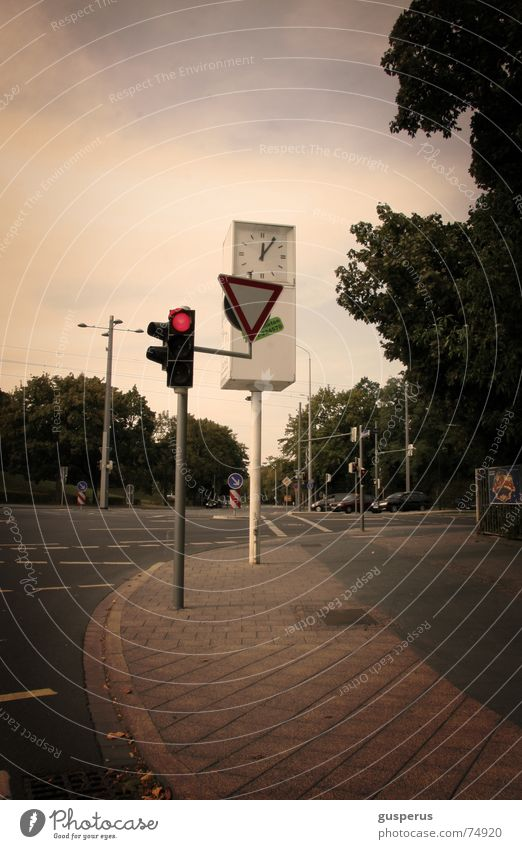 Far-off places Wait Going Empty Stand Clock Sidewalk Traffic light Mixture Pedestrian crossing