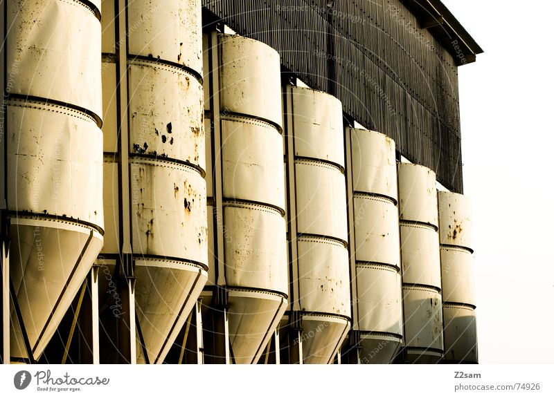 in rank and file Silo Keg Industrial Photography White Broken Yellow Pattern Abstract Style 2 Side by side Attic Rust Trashy Structures and shapes Row in rows