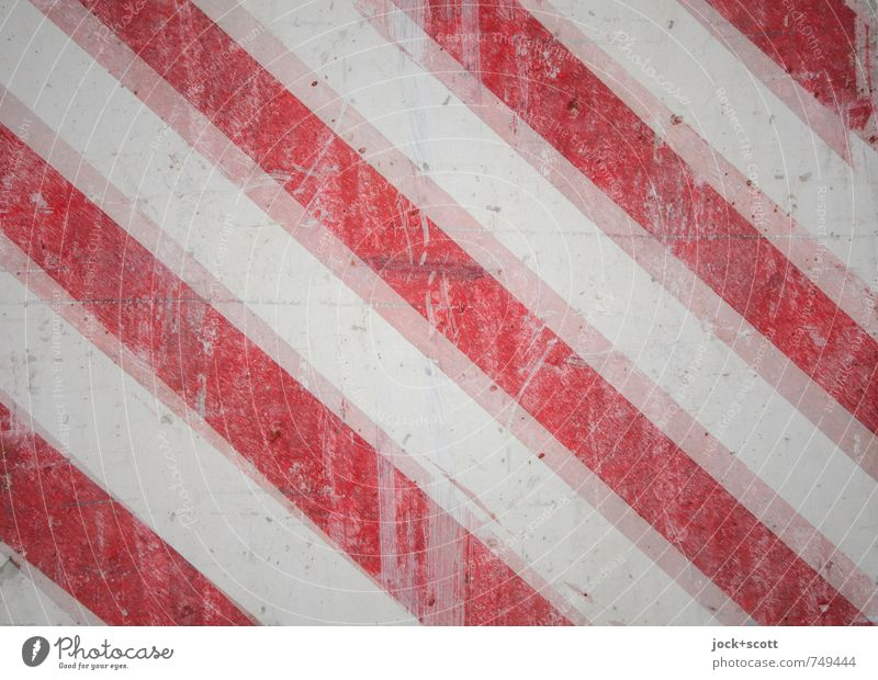 Red stripes, doubled Illustration Warning colour Concrete Line Stripe Diagonal Signage Dirty Reliability White Safety Design Style Symmetry Warning label