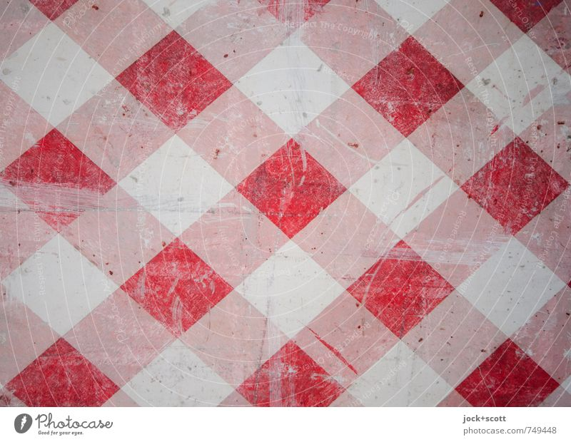 Attention double Concrete Road sign Checkered Warning stripes Dirty Red White Safety Symmetry Double exposure Scratch mark Weathered Second-hand Surface