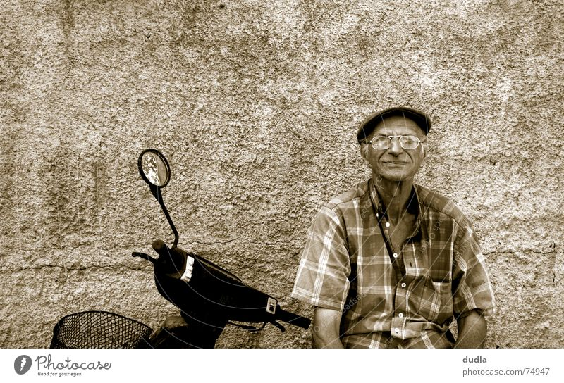 Man Old Calm Relaxation Wait Sit Serene Boredom Grandfather Scooter Greece Mediterranean Motorcycle Goof off