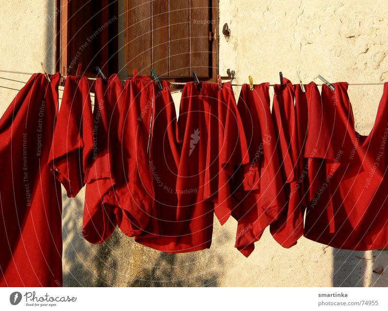 sunset Laundry Mediterranean Red Evening sun Sunset weekline Signal alarm level a little household It's not a problem. I see red Washing Washing day