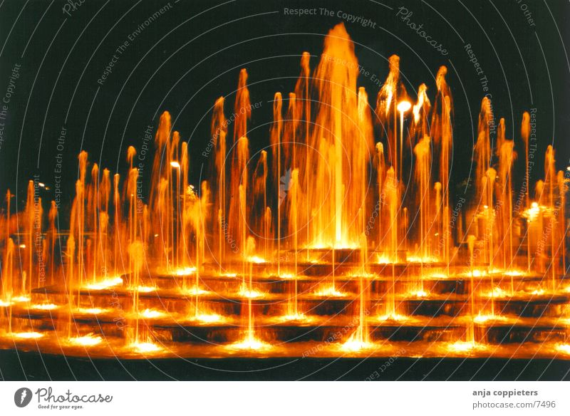 The Fountain Water fountain Wet Riga Evening Orange