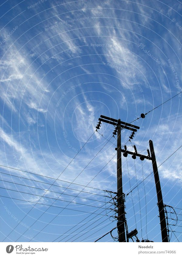 Sky White Blue Summer Clouds Hot Electricity pylon Greece Transmission lines Bad weather Samos