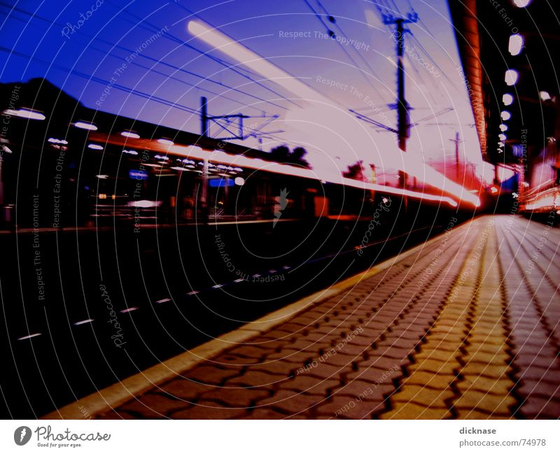 too fast for me... Railroad Evening Speed Goodbye Star Wars pretty damn fast train jenbach in austria Train station mainstation sunset Surrealism Lighting rays