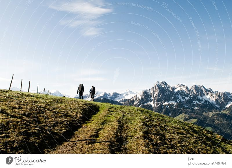 March to the starting place Summer Mountain Hiking Paragliding Nature Landscape Air Sky Spring Beautiful weather Wind Rock Alps Saanenland Lanes & trails Going