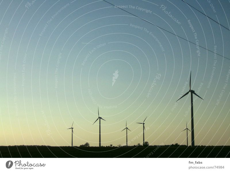 flimsy Electricity Wind energy plant Mill Sky Far-off places Blue Evening