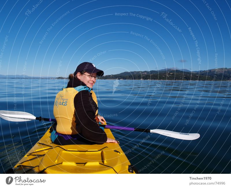 Water Sky Blue Calm Yellow Sports Canoe Freedom Landscape Watercraft Horizon Beautiful weather New Zealand Paddle Kayak Azure blue