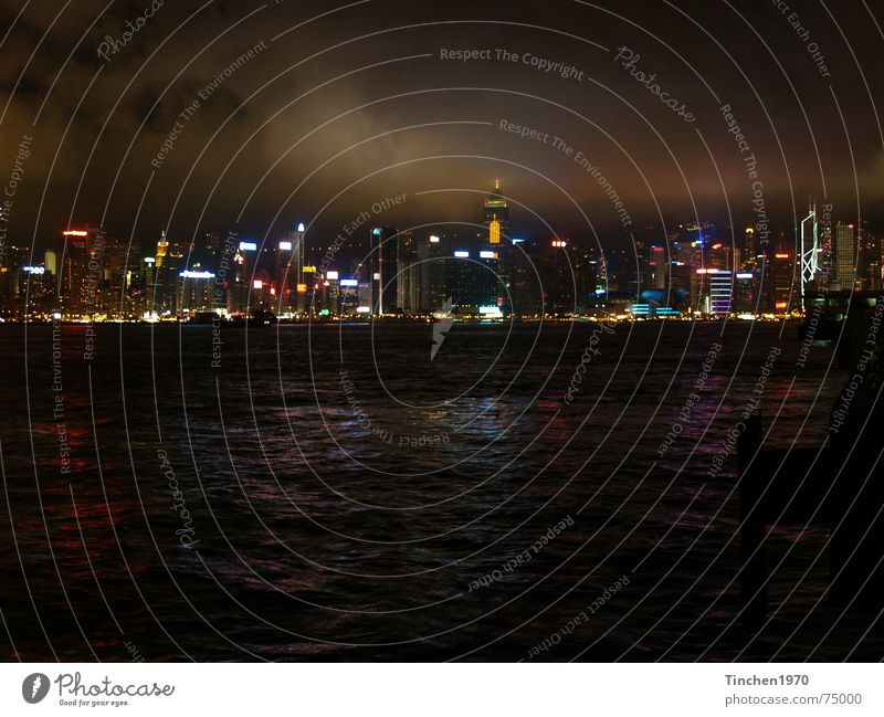 hong kong at night Hongkong China Night Town Exterior shot Dark Visual spectacle Moody Fascinating Clouds Water Harbour Skyline Light