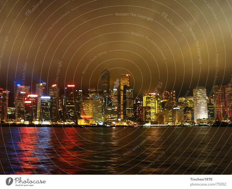 Hong Kong at night 2 Hongkong China Night Town Exterior shot Dark Visual spectacle Moody Fascinating Clouds Water Harbour Skyline Light