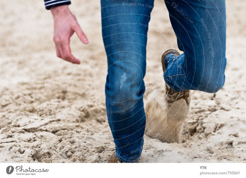 Dunerunner Human being Masculine Young man Youth (Young adults) Man Adults Hand Legs Feet 1 18 - 30 years Environment Hill Coast Movement Sand Grain of sand