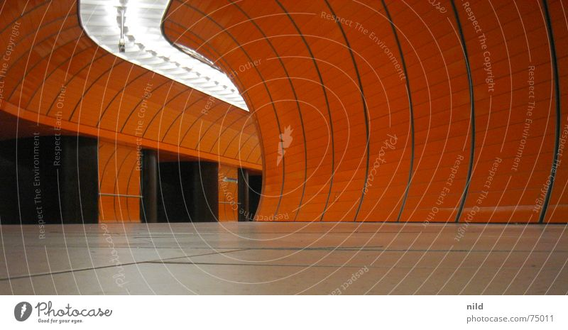orange tunnel vision Tunnel Underground Whorl Worm's-eye view Contrast Surveillance Lighting Round Semicircle Train station Orange Loneliness Police state