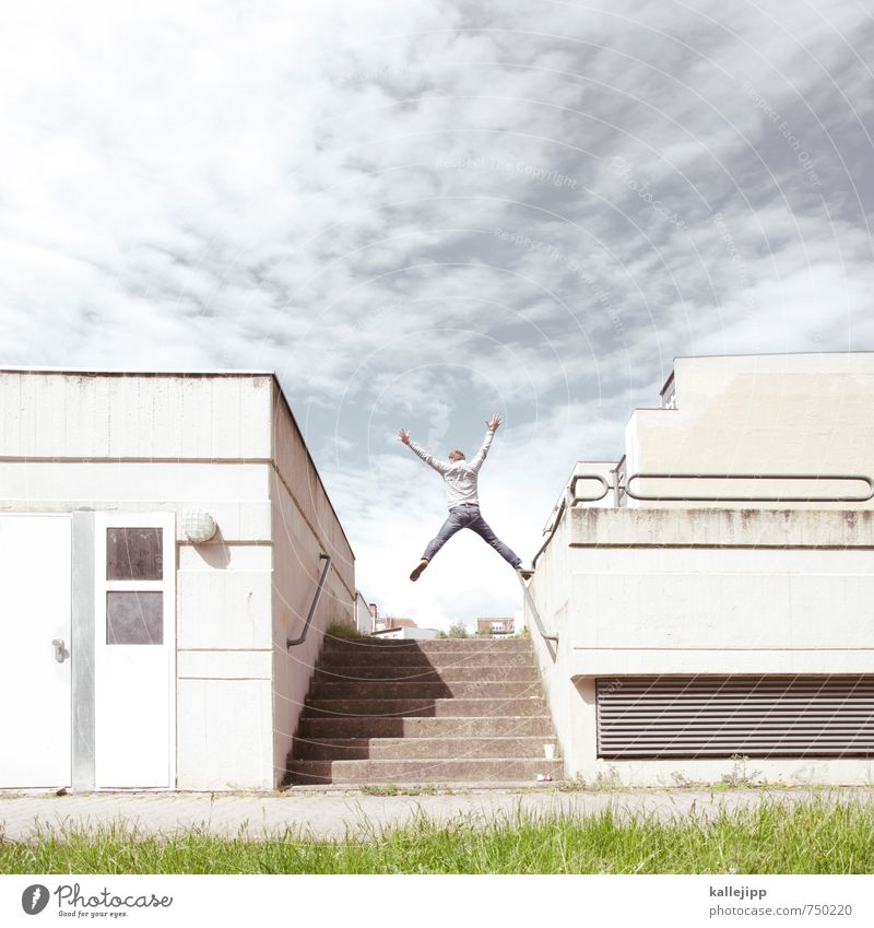 for the umpteen time Human being Body 1 Town House (Residential Structure) Stairs Facade Balcony Jump Upward Success Prospect of success Concrete Colour photo