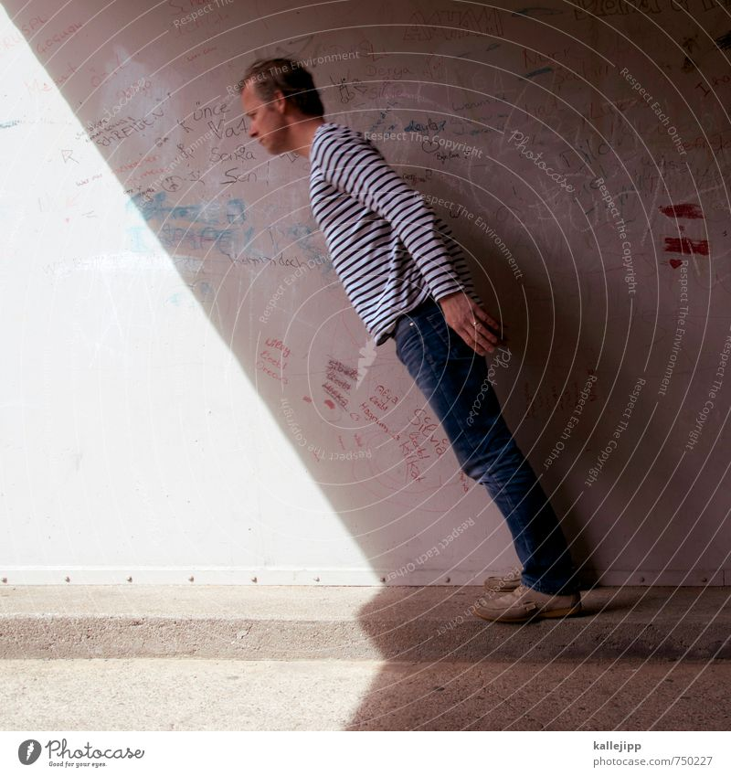sundial Human being Masculine Man Adults Body 1 30 - 45 years Town Wall (barrier) Wall (building) Stand Sundial shaded place Shadow play To fall Crazy Concrete