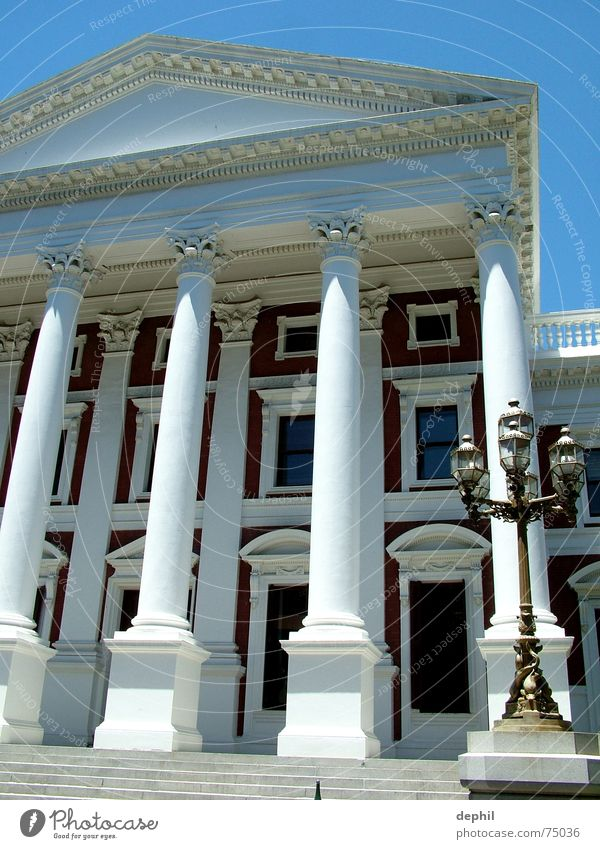 House (Residential Structure) Building Stairs Lantern Manmade structures Entrance Column South Africa Cape Town Seat of government