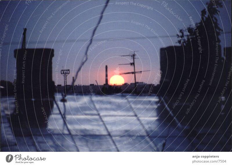 Evening Sunset Roof Dark Twilight Art nouveau Sky