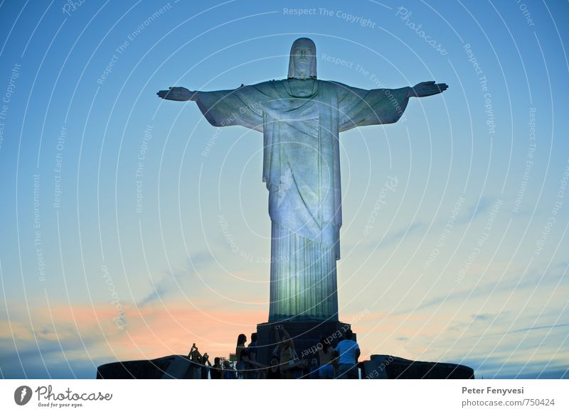 Rio de Janeiro 7 Sculpture Brazil Americas South America Town Tourist Attraction Landmark Gigantic Tall Blue Moody Belief Freedom Religion and faith Infinity