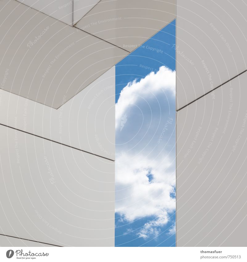 Sky Blue City White Clouds House (Residential Structure) Wall (building) Architecture Wall (barrier) Building Facade Elegant Design Modern Perspective Esthetic