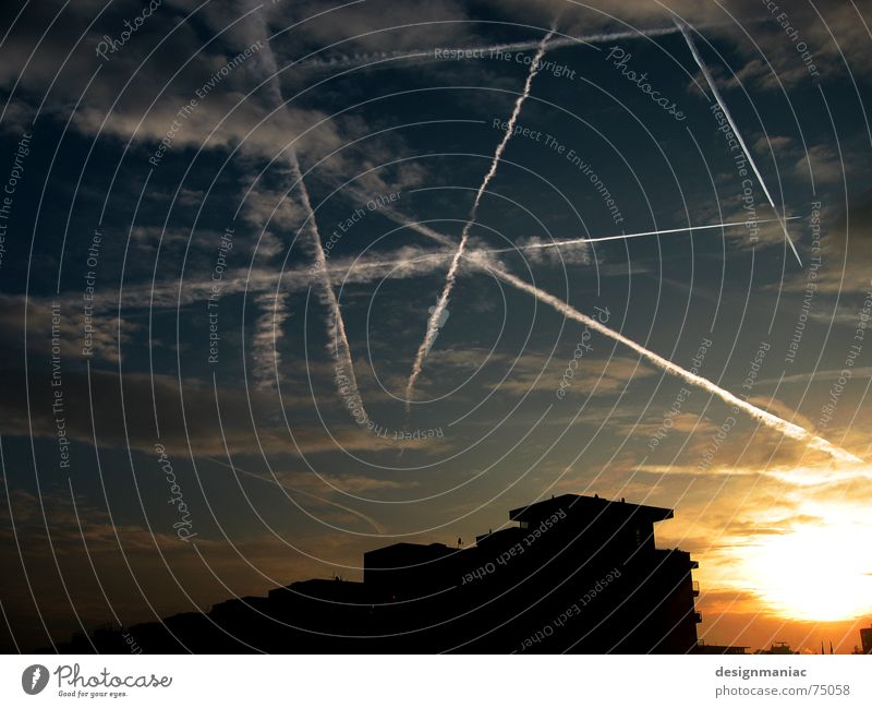 starwars Atomic bomb Airplane Silhouette Roof House (Residential Structure) Sunrise Dark Light Gray Clouds Vapor trail Black Frankfurt Europe Back-light War