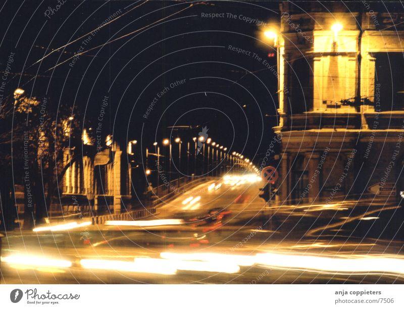 Don't Stop Driving Light Street lighting Transport Car Evening Movement Bridge