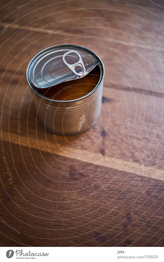 can Food Tin Firm Fast food Metalware Stability Tin of food Packaging Wooden table Colour photo Interior shot Deserted Copy Space top Copy Space bottom