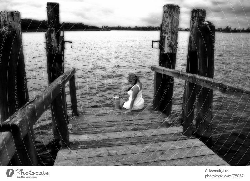 Woman Water Girl Calm Black Loneliness Wood Coast Horizon Sit Gloomy Footbridge Boredom Jetty Headscarf Watering can