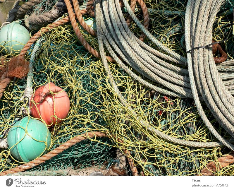 Green Red Yellow Gray Rope Fish Network Net Harbour Still Life Relationship Chaos Fishing (Angle) Muddled Fisherman Port