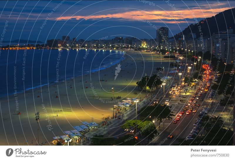 Water Ocean Beach Moody Bay Americas Tourist Attraction South America Night sky Brazil Rio de Janeiro Copacabana