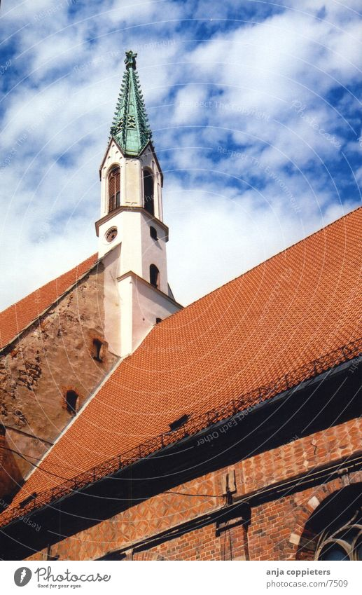 Sky Blue Red Religion and faith Europe Roof Old town Latvia Riga Spire