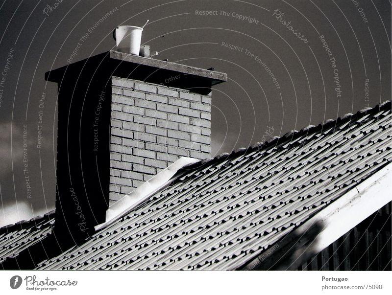 Bucket on the roof Sky Roof Brick Gray Black White Roofing tile roof ledge Black & white photo Exterior shot Deserted Shadow Sunlight Sunbeam Roof ridge