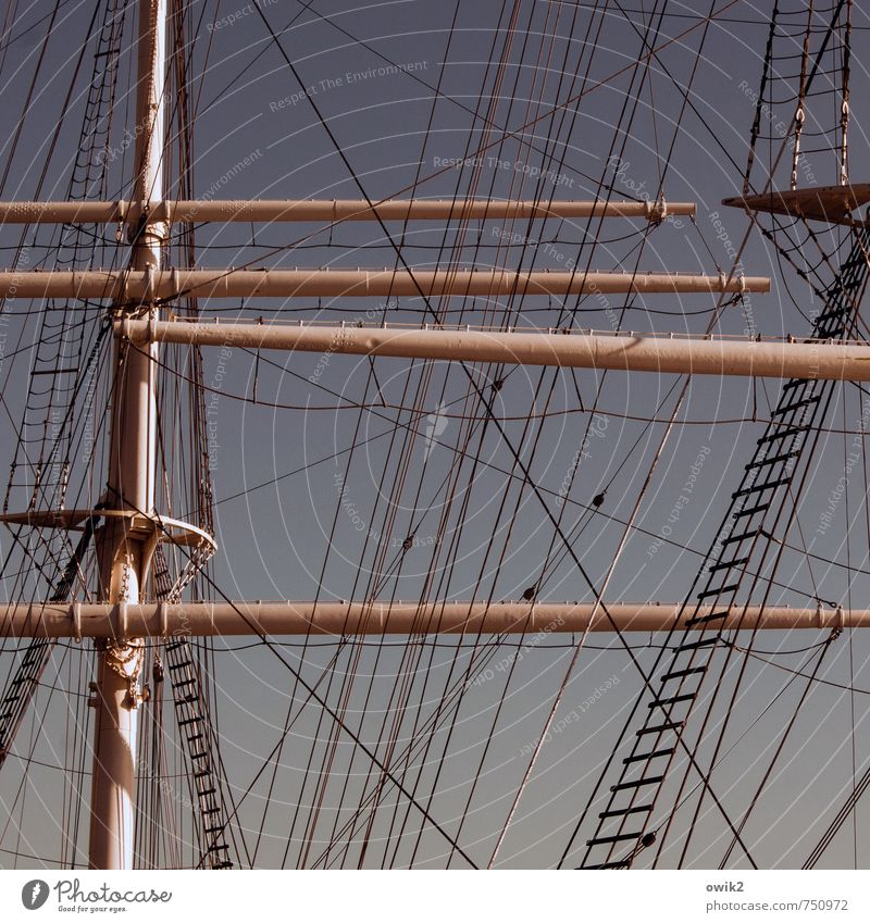 hierarchy Cloudless sky Navigation Sailing ship Rope Mast Rigging Rope ladder Firm Gigantic Large Tall Above Power Responsibility Dependability Conscientiously