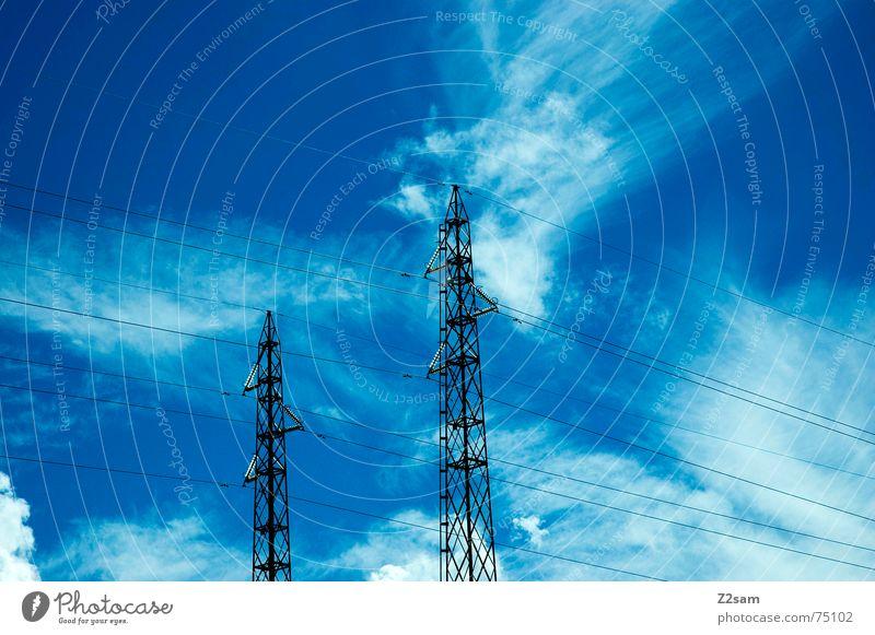 Sky Blue Clouds Line Electricity Connection Electricity pylon Transmission lines